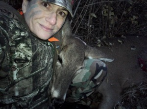 My first deer; whitetail doe, in the Flint Hills of Kansas. You're never too old to start hunting!