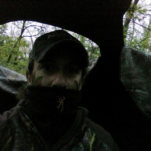 In the blind by 0530 and calling turkey at 0630, using my Illusion box call, Mossberg shotgun in my lap.