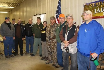 Veterans at the Flint Hills Gobblers 15th annual Spring Turkey Hunting Clinic. Yours truly in the black Army jacket, representing women veterans.