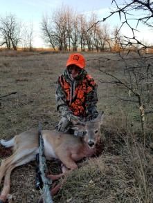 "My first-ever buck; an ""antlerless"" button buck."