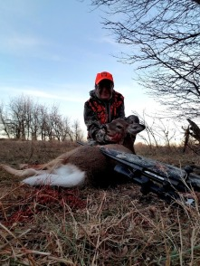 "My first-ever buck; an ""antlerless"" button buck taken with my Savage Arms 30-06 from Whitetails Unlimited."